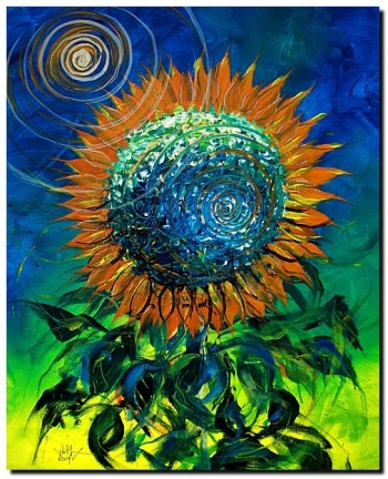 Impression Sunflower Abstract  Modern Abstract Fish Art Artwork Paintings J Vincent Scarpace