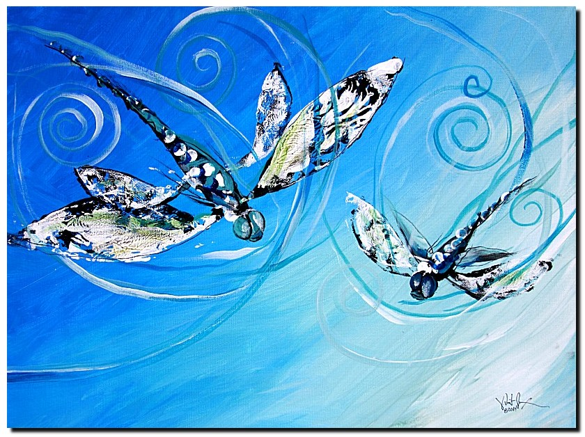 Late Summer Sky  Modern Abstract Fish Art Artwork Paintings J Vincent Scarpace