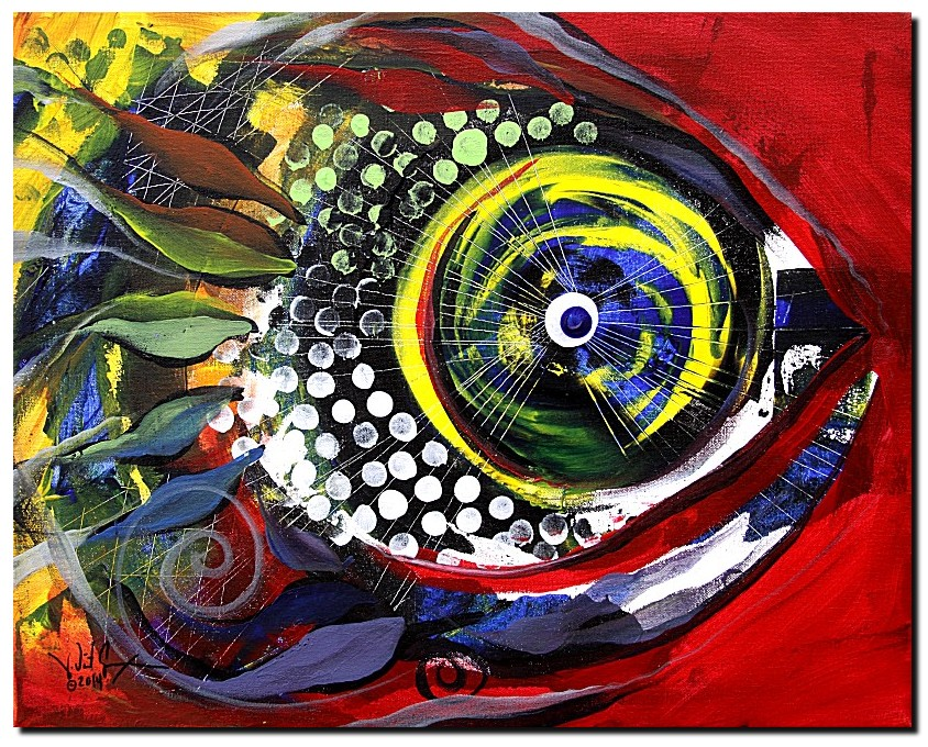 Rainbow in the Red Sea  Modern Abstract Fish Art Artwork Paintings J Vincent Scarpace