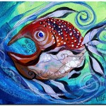 Spiral tongued Scribble Gut  Modern Abstract Fish Art Artwork Paintings J Vincent Scarpace