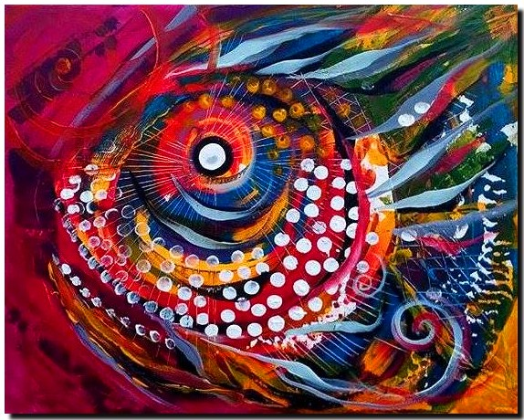 Sun Fish in the Sun  Modern Abstract Fish Art Artwork Paintings J Vincent Scarpace