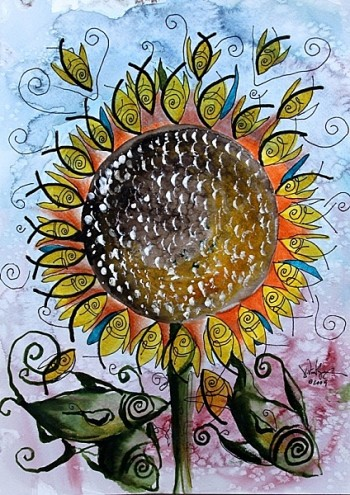 Sunflower   Modern Abstract Fish Art Artwork Paintings J Vincent Scarpace