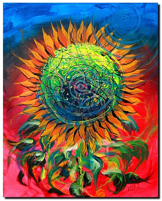 Sweet Blue Sun Flower  Modern Abstract Fish Art Artwork Paintings J Vincent Scarpace