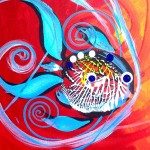 Into Cooler Waters  Modern Abstract Fish Art Artwork Paintings J Vincent Scarpace