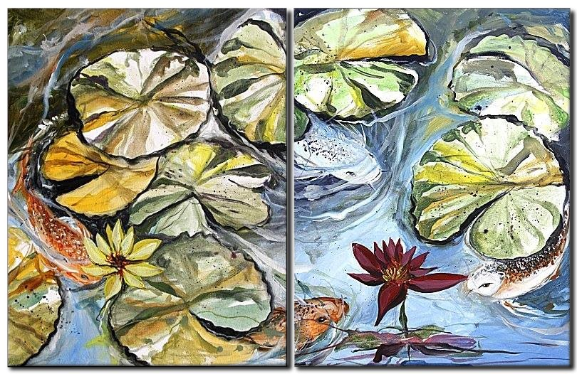 Two and Four  Modern Abstract Fish Art Artwork Paintings J Vincent Scarpace