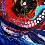 Fire Face wRainbow Tail  Modern Abstract Fish Art Artwork Paintings J Vincent Scarpace