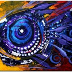 Blue and Violet Nosey Girl  Modern Abstract Fish Art Artwork Paintings J Vincent Scarpace
