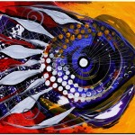 Native Jaw on Yellow and Red  Modern Abstract Fish Art Artwork Paintings J Vincent Scarpace