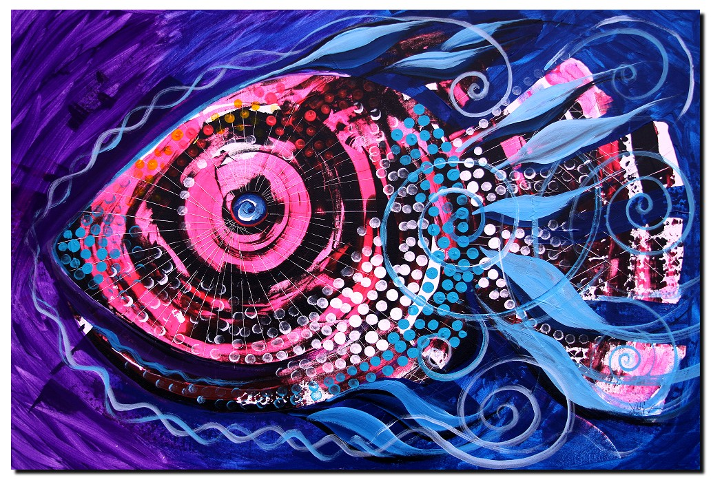 Princess Kopasetic II  Modern Abstract Fish Art Artwork Paintings J Vincent Scarpace