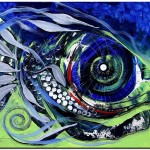 Red Gill Sky and Earth  Modern Abstract Fish Art Artwork Paintings J Vincent Scarpace