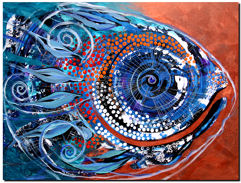 Solidarity on Copper and Teal  Modern Abstract Fish Art Artwork Paintings J Vincent Scarpace