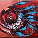 Teal Tail Red On Copper  Modern Abstract Fish Art Artwork Paintings J Vincent Scarpace