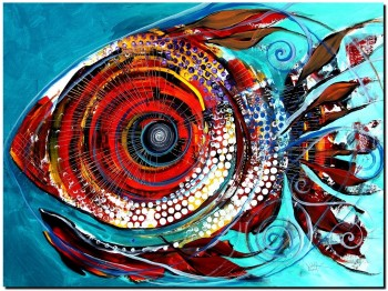 Tiny Blue Pill  Modern Abstract Fish Art Artwork Paintings J Vincent Scarpace