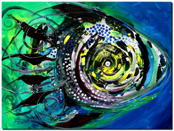 Yellow Yellow on Blue and Green  Modern Abstract Fish Art Artwork Paintings J Vincent Scarpace