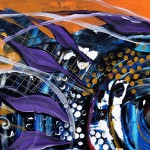 Blue on Orange  Modern Abstract Fish Art Artwork Paintings J Vincent Scarpace