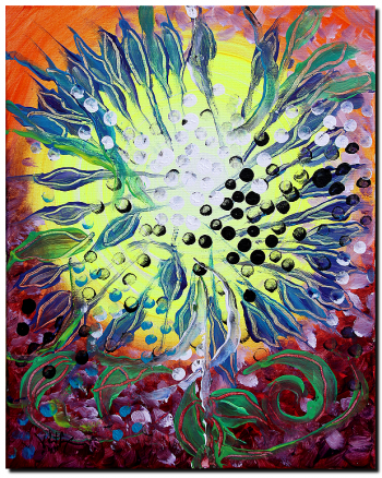 Deconstructed Sunflower Homage to Mr. Vinklarek  Modern Abstract Fish Art Artwork Paintings J Vincent Scarpace