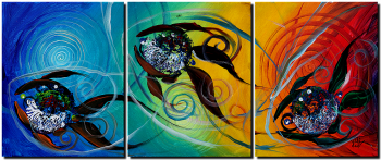 Spectrum Three Sun Sun Moon  Modern Abstract Fish Art Artwork Paintings J Vincent Scarpace