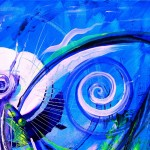 Butterfly Blue Violet  Modern Abstract Fish Art Artwork Paintings J Vincent Scarpace