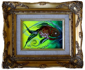 Framed Fish One  Modern Abstract Fish Art Artwork Paintings J Vincent Scarpace