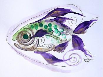 J. Vincent Fish   Modern Abstract Fish Art Artwork Paintings J Vincent Scarpace