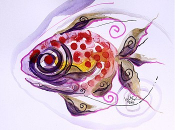J. Vincent Fish   Modern Abstract Fish Art Artwork Paintings J Vincent Scarpace