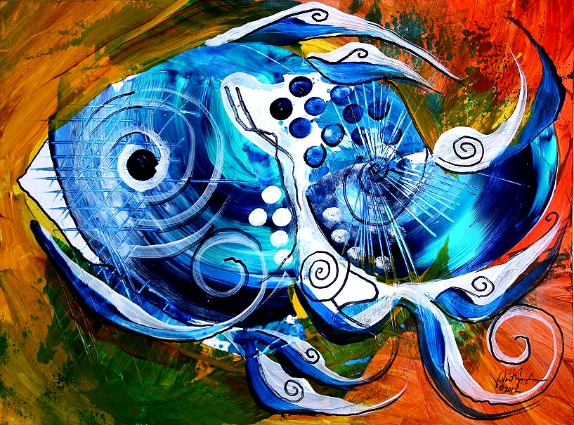 Pacific Color  Modern Abstract Fish Art Artwork Paintings J Vincent Scarpace
