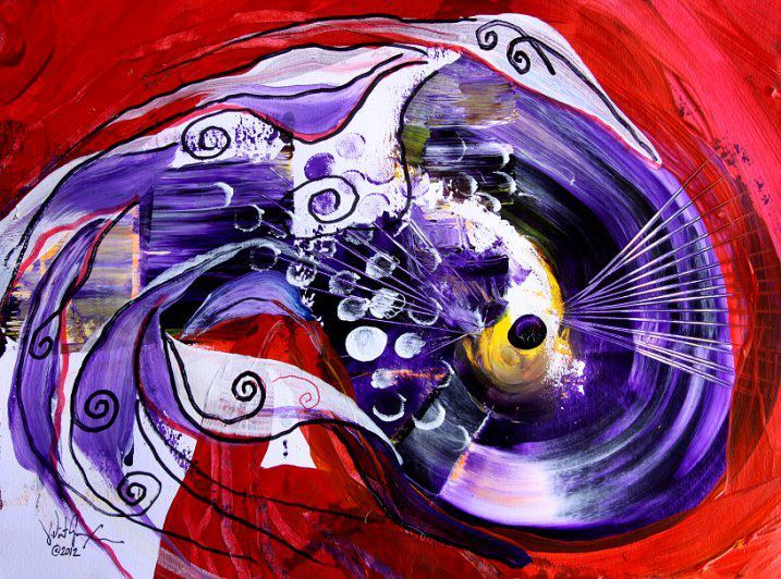 Twisted Cod on Red  Modern Abstract Fish Art Artwork Paintings J Vincent Scarpace