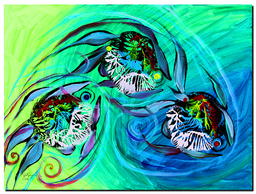 Three Primary Follow  Modern Abstract Fish Art Artwork Paintings J Vincent Scarpace
