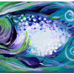 Abstract Average Purple Fish  Modern Abstract Fish Art Artwork Paintings J Vincent Scarpace
