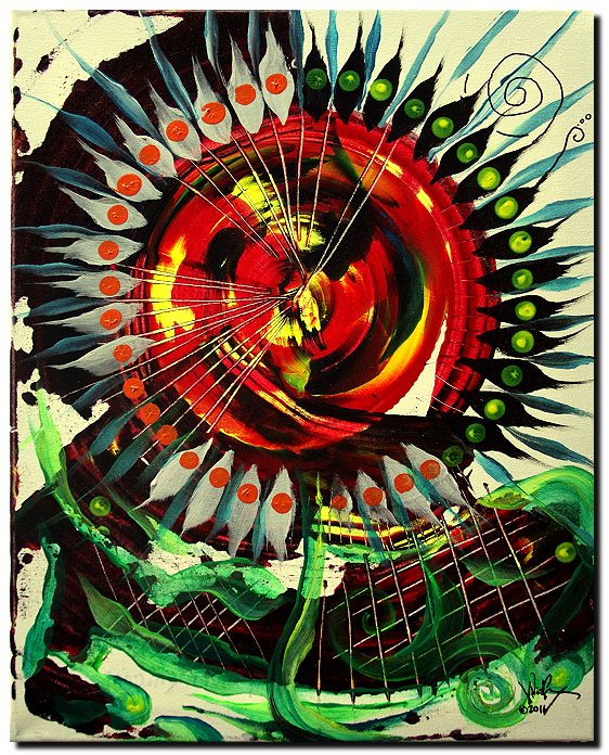 Deconstructed Sunflower  with Abstract Snail  Modern Abstract Fish Art Artwork Paintings J Vincent Scarpace
