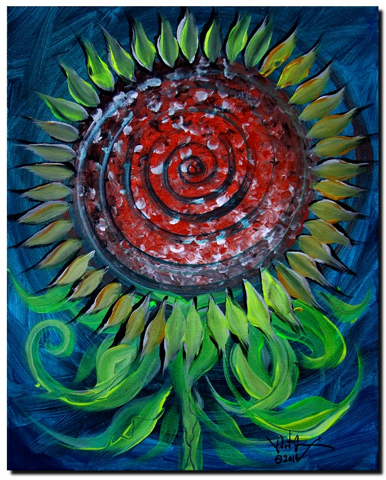 Smazy Sunflower Abstract  Modern Abstract Fish Art Artwork Paintings J Vincent Scarpace