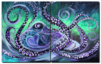Purple Hearted Octopus  Modern Abstract Fish Art Artwork Paintings J Vincent Scarpace