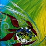 Spectrum and Three  Modern Abstract Fish Art Artwork Paintings J Vincent Scarpace