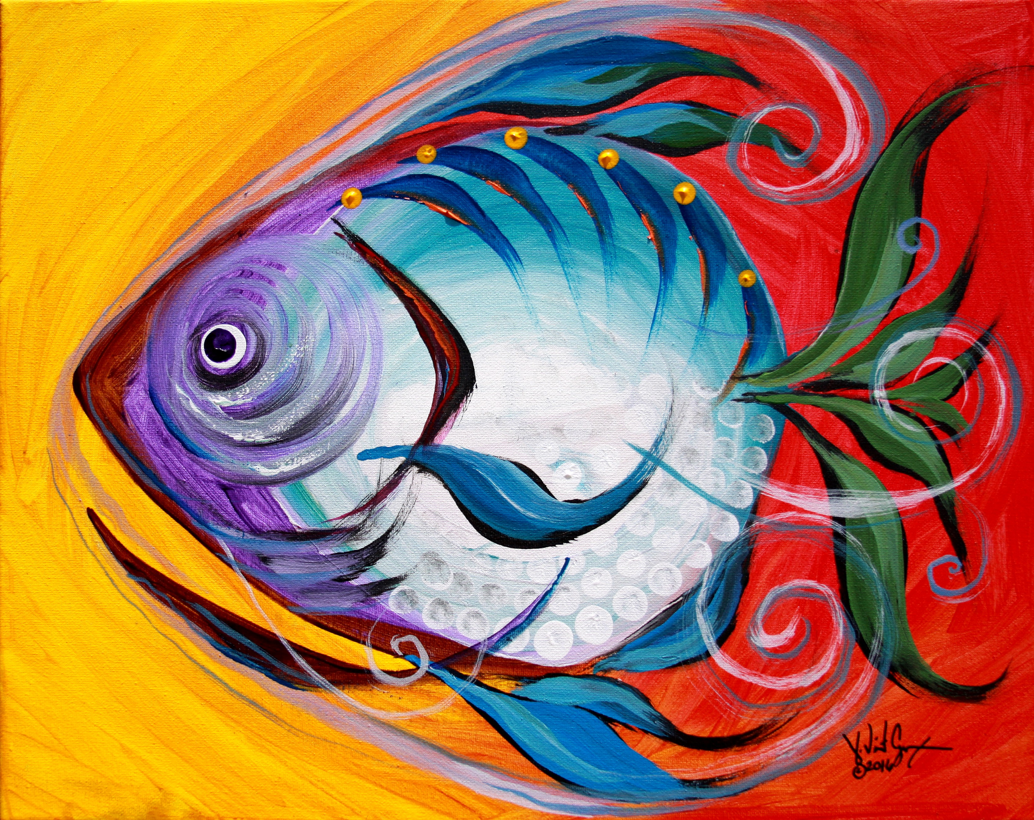 Purple blue happy fish 2016 ipaintfish for How to paint a fish