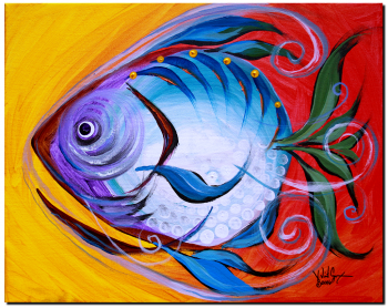 Purple  Blue Happy Fish  Modern Abstract Fish Art Artwork Paintings J Vincent Scarpace