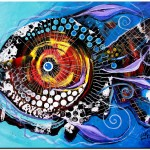 Fat Lipped Fantastic Fish  Modern Abstract Fish Art Artwork Paintings J Vincent Scarpace