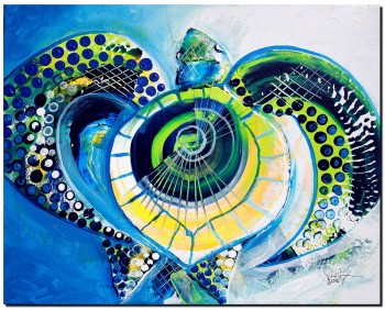 Sea Turtle Full of Grace  Modern Abstract Fish Art Artwork Paintings J Vincent Scarpace