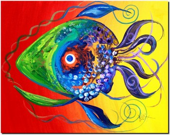 Pardi Gras Fish  Abstract Fish Art Artwork Paintings J Vincent Scarpace