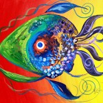 Pardi Gras Fish  Modern Abstract Fish Art Artwork Paintings J Vincent Scarpace