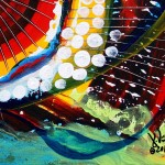 Silver eyed Rainbow Bandit  Modern Abstract Fish Art Artwork Paintings J Vincent Scarpace