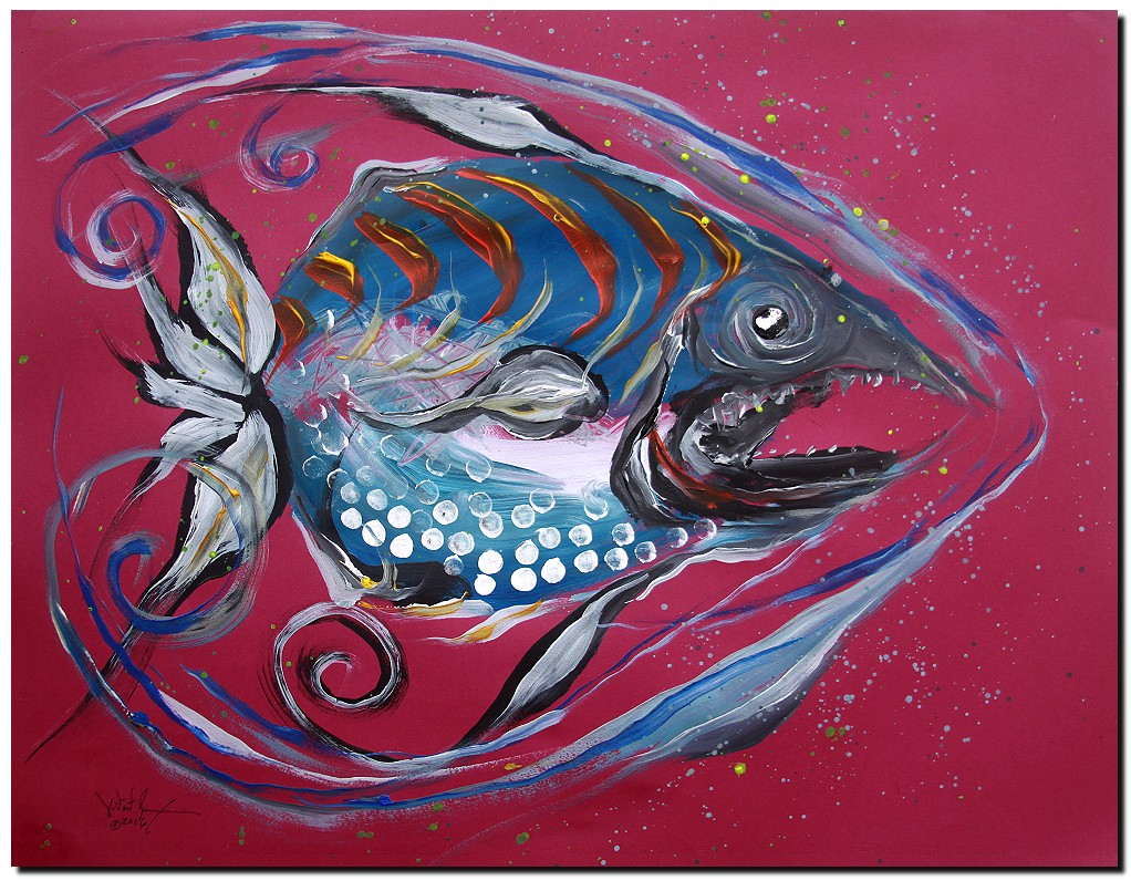 Just Fish One  Modern Abstract Fish Art Artwork Paintings J Vincent Scarpace