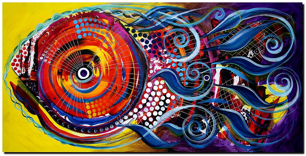 ColorFish Braided Beauty  Modern Abstract Fish Art Artwork Paintings J Vincent Scarpace