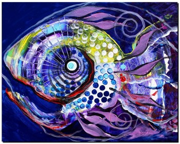 Flow Mistress Sally  Abstract Fish Art Artwork Paintings J Vincent Scarpace