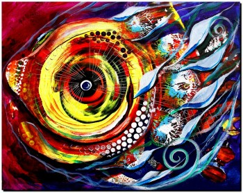 Five Smiles Two Eyes  Abstract Fish Art Artwork Paintings J Vincent Scarpace