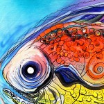 Caviar and Faux Stained Glass Fish  Modern Abstract Fish Art Artwork Paintings J Vincent Scarpace