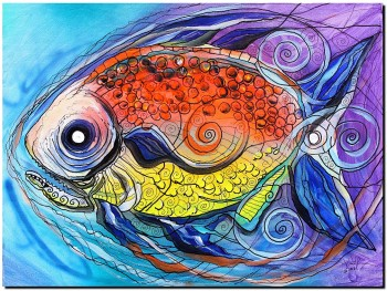 Caviar and Faux Stained Glass Fish  Abstract Fish Art Artwork Paintings J Vincent Scarpace