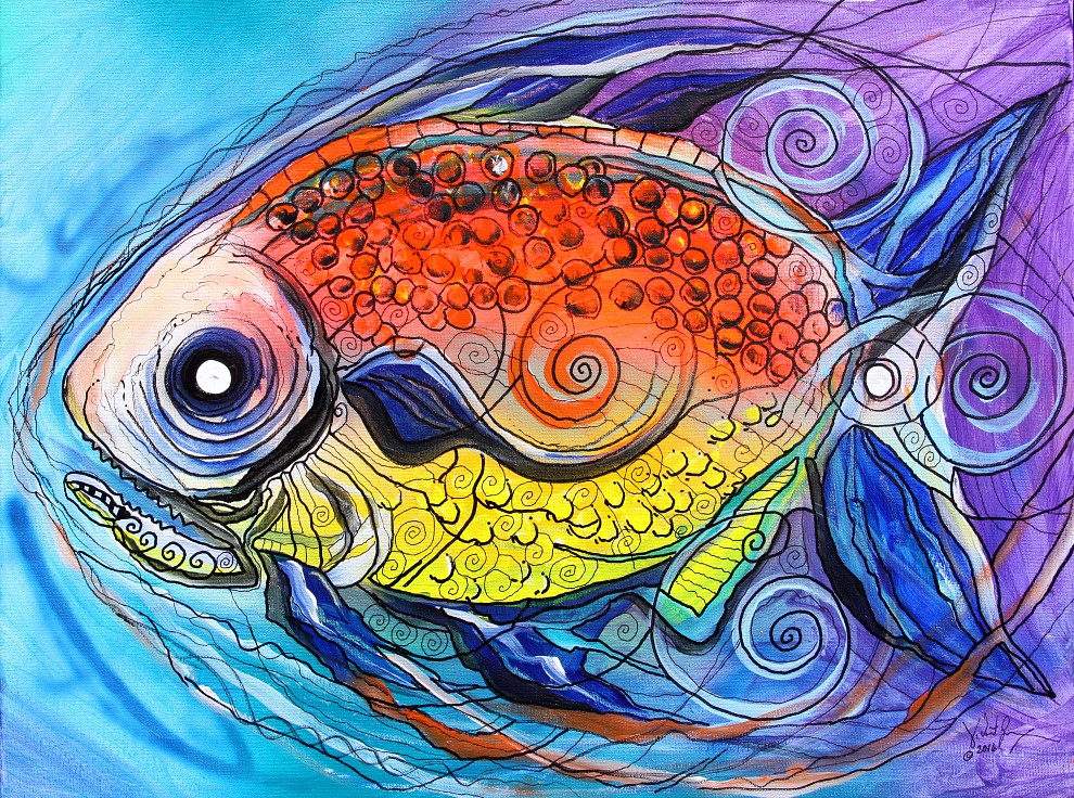 Caviar and faux stained glass fish 2016 ipaintfish for Painted glass fish