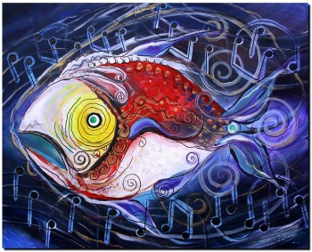 Wolfgang Amadeus FishArt  Abstract Fish Art Artwork Paintings J Vincent Scarpace