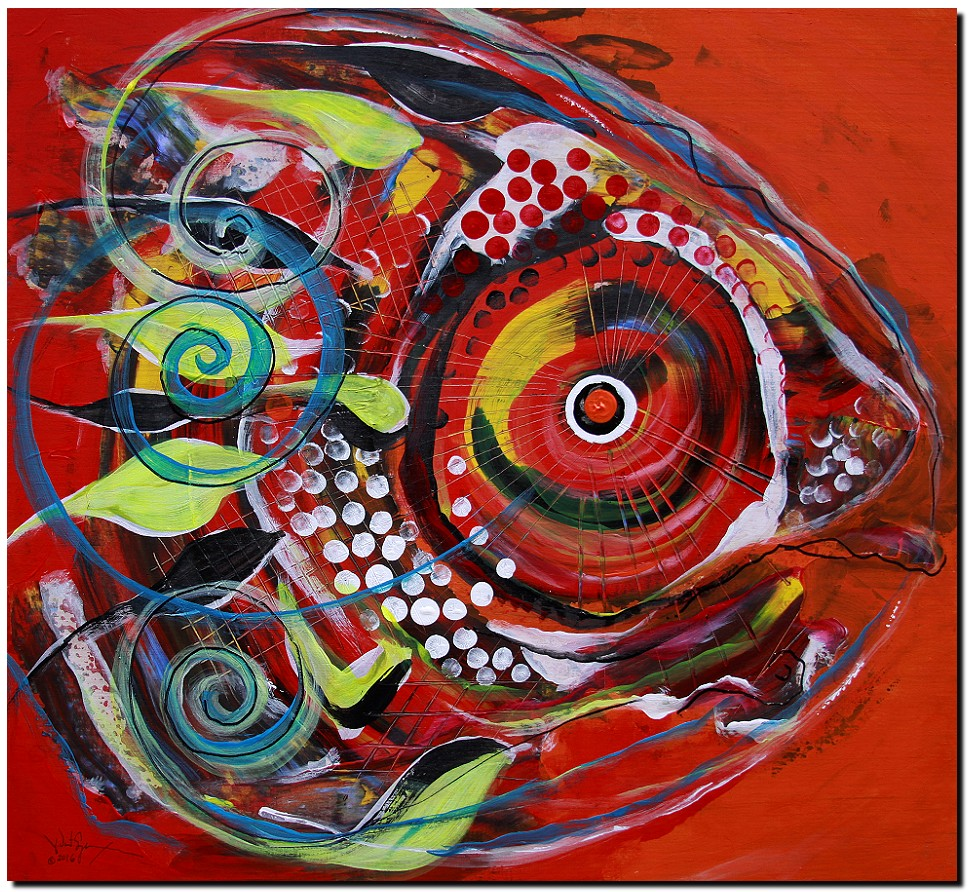 Aboriginal IceHole Fish  Modern Abstract Fish Art Artwork Paintings J Vincent Scarpace
