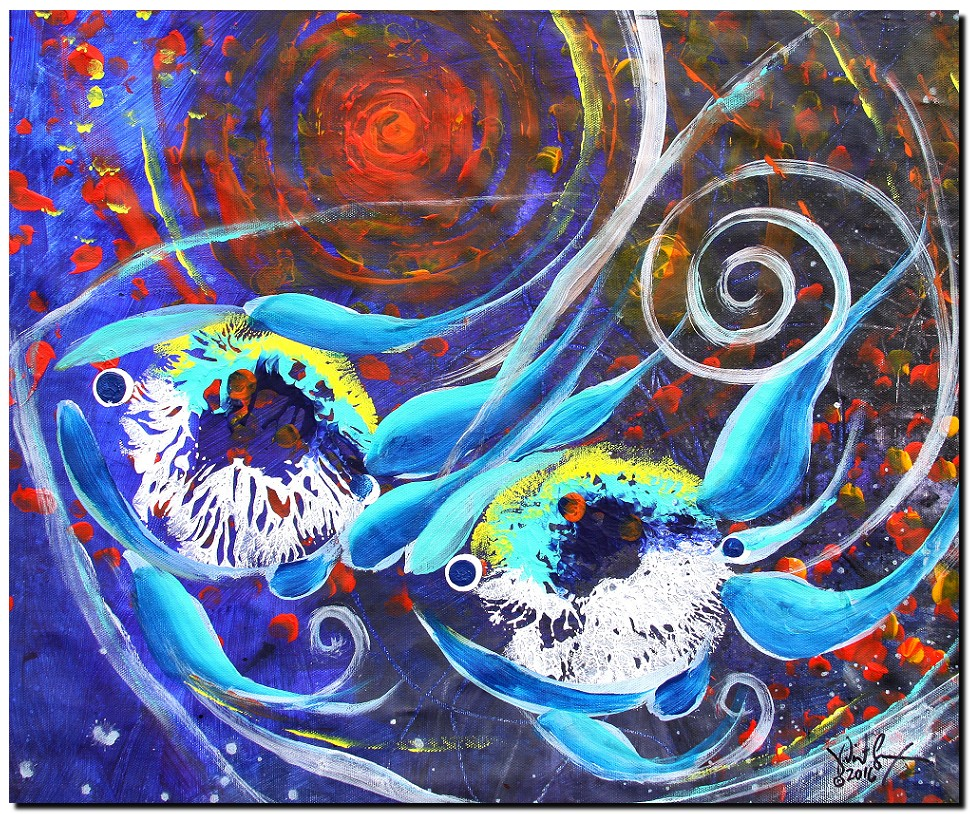 Nebulon Two  Modern Abstract Fish Art Artwork Paintings J Vincent Scarpace